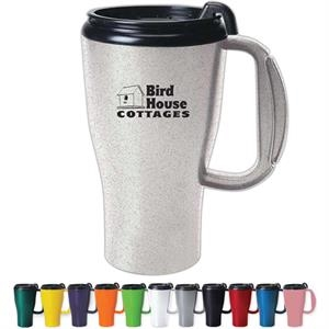 Omega - Mug With Slider Lid, Double Wall Plastic Insulated With 4 Finger Ergonomic Handle