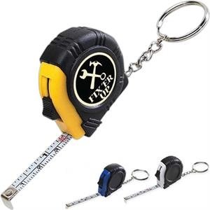 "Rubber Tape Measure Key Tag, 39"" Retractable Steel Tape"