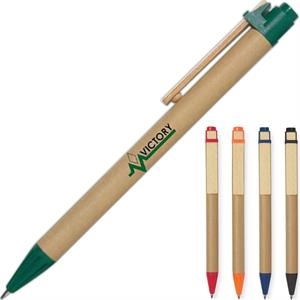 Hitgreen (tm) - Eco-friendly Pen With Recycled Paper Barrel And Wooden Clip