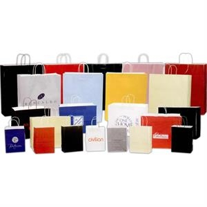 "Orders Under 1000 - High Gloss Metallic Silver Paper Shopping Bag. 8"" X 4 3/4"" X 10"""