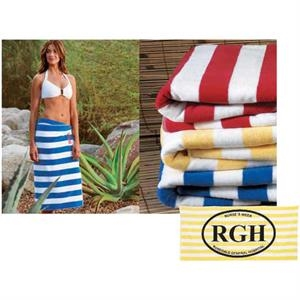 Turkish Signature (tm) - Embroidered - Midweight Cabana Stripe Beach Towel