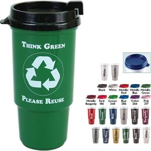 Personal Refillables (tm) - Insulated Recycled Auto Cup With Thumb Slide Lid,
