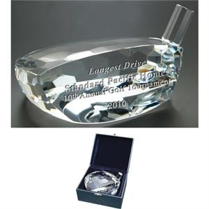 Commander Windsor Collection - Large Commander Trophy - This Golf Club Head Shaped Award Is Made Of Optical Crystal