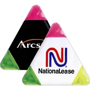 Chisel-tip, Tri-highlighters In Yellow, Pink And Green. Transparent Caps