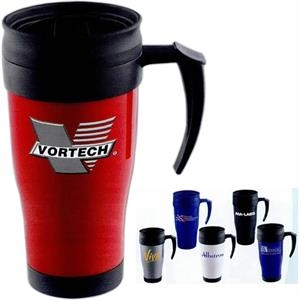 Modesto - Insulated 16 Oz. Mug With Double Wall Construction And Screw On Slide Lock Lid