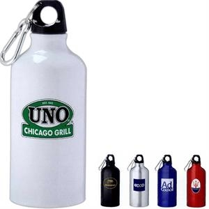 Lil Shorty - Aluminum Sports Bottle With Twist On Lid. Silver 5mm Carabiner