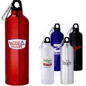 Pacific - Aluminum Sports Bottle 26 Oz, With Twist On Lid. Silver 5mm Carabiner