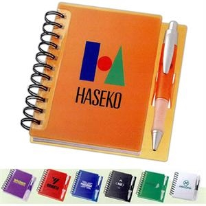 The Times - Spiral Notebook With Plastic Cover And Pen Clip. Includes Pen In Matching Color
