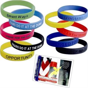 Custom Silicone Wristband, Bracelet with Debossed or Print