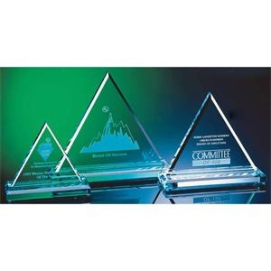 "Jade - Crystal Triangle Award With Beveled Edges, 7"" X 6 1/2"" X 3"""