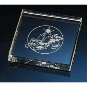 Square Clear Glass Paperweight