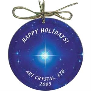 Nanobrite (c) - Circle Glass Ornament Packaged In A Gift Box With Gold Hang Tag