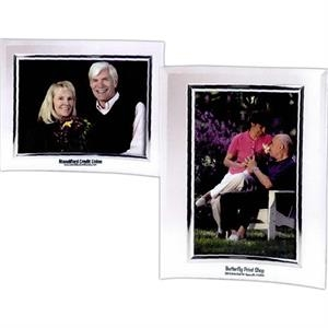 "Clear 4"" X 6"" Curved Plastic Frame With Silver Bezel"