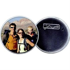 "2 1/4"" Snap-in Photo Button With Pin Back. Blank"