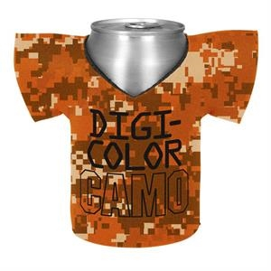 Shirt Coolie (tm) - Camo Four Color Process Jersey Shirt Shaped Insulated Can Or Bottle Holder