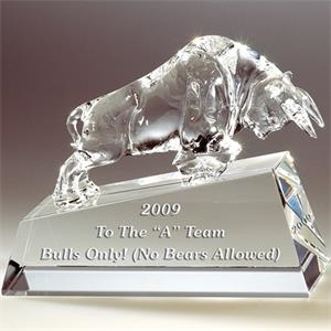 Charging Bull - Charging Bull On Clear Base Crystal Figurine By Crystal World