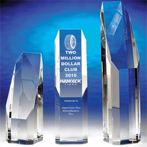"Premier - Premier 6-1/2"" Crystal Award By Crystal World. Sp190"