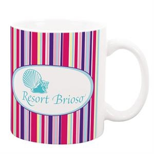 P.k. Reese (tm) - White 11 Oz. Ceramic Mug With Aruba Designer Pattern