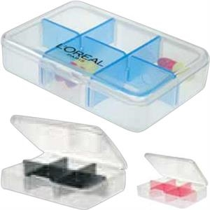 Translucent 6 Compartment Pill/vitamin Box With Unique Color Dividers
