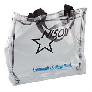 "Clear Vinyl Tote W 13"" X 14"" X 3"" With Stitching To Match Webbing"
