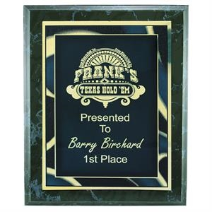 "Black Marble Finish Plaque Award With Plate, W 8"" X 10"""