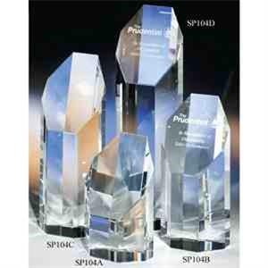 "Prestige - Prestige Crystal Award With Slant Top By Crystal World 8"". Sp104"