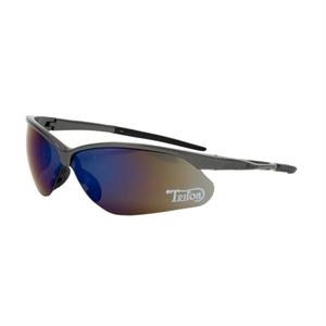Phenix - Blue Lens - Safety Glasses With Bayonet-style Wraparound Lenses And Rubberized Temple