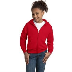 Hanes (r) Comfortblend (r) Ecosmart (r) - White - Youth Full-zip Hooded Sweatshirt, 7.8 Ounce 50/50 Cotton/polyester