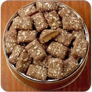 "English Toffee In 7 3/16"" X 2 5/8"" Round Custom Gift Tin"
