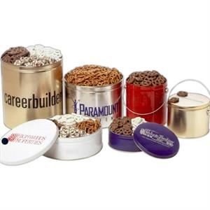 "Yogurt Pretzels In A 9 7/8"" X 3 1/2"" Round Gift Tin"