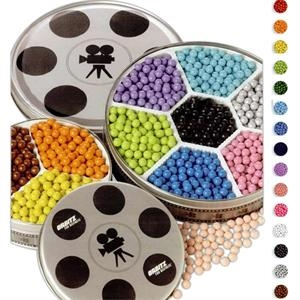 Sixlets In Small Movie Reel Tin With Three Colors. Net Weight: 1 Lb. 2 Oz