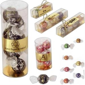 "Lindt Lindor - 3 Individually Wrapped Balls In Clear Box. Box Size: 6 1/16"" L X 1 1/4"" W X 1 1/8"" H"