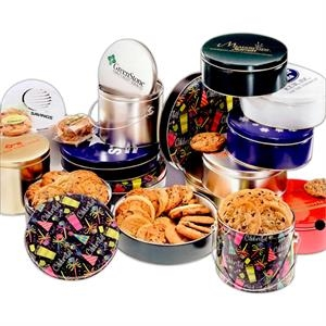 Designer Gift Tin With 18 Assorted Cookies