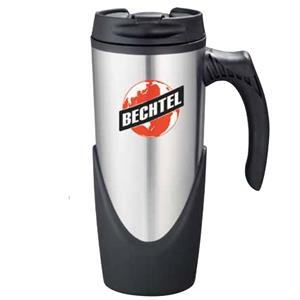 High Sierra (r) - Stainless Steel Travel Mug With Plastic Liner, 16 Oz. Flip-top, Locking Lid