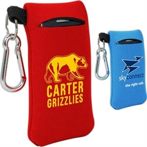 Small Mobile Accessory Holder Of Neoprene With Key Ring Loop And Carabiner Clip