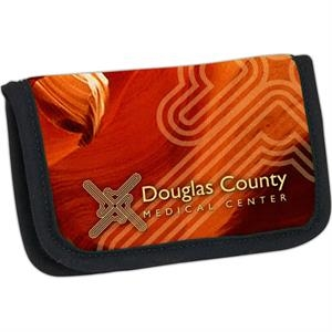 Four Color Process Business Card/atm Card Holder With Clear Vinyl Pockets