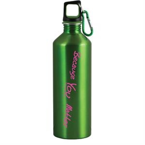 The Latitude - Green - 26 Oz Stainless Steel Sport Bottle With Metal Carabiner And Rubber Lid