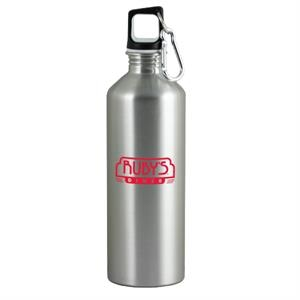 The Latitude - Silver - 26 Oz Stainless Steel Sport Bottle With Metal Carabiner And Rubber Lid