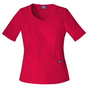 Cherokee - Red - Sa4746 Cherokee Novelty V-neck Scrub Top - 15 Colors Available
