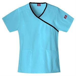 Dickies (r) - Icy Turquoise - Sa815206 Mock Wrap Scrub Top #sa815206 - 15 Colors Available