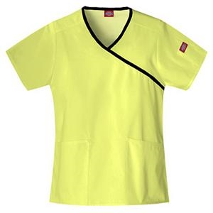 Dickies (r) - Key Lime - Sa815206 Mock Wrap Scrub Top #sa815206 - 15 Colors Available
