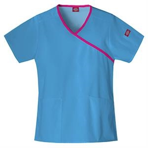 Dickies (r) - Malibu Blue - Sa815206 Mock Wrap Scrub Top #sa815206 - 15 Colors Available