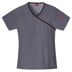 Dickies (r) - Pewter - Sa815206 Mock Wrap Scrub Top #sa815206 - 15 Colors Available