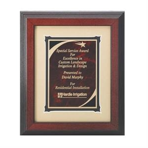 Professional Gallery - Black/red Marble Shooting Star Plate Award With Wood Frame