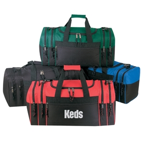 Embroidery - Two-tone Duffel Bag With Four End Pockets And Zippered Front Pocket
