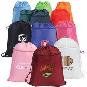 Drawstring Shoulder Pack With Zippered Front Pocket Made Of 420 Denier Nylon