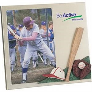 "Sport Collection - Metal Frame With 3d Polyresin Baseball Decoration, Holds 4"" X 6"" Photo. Clearance"