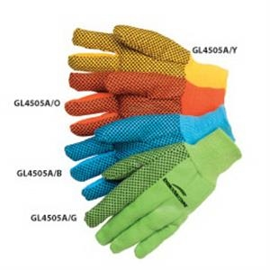 Fluorescent Yellow - Canvas Work Gloves With Black Pvc Dots, 10 Oz