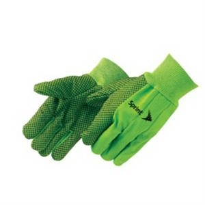 Fluorescent Green - Double Palm Canvas Work Gloves With Black Pvc Dots On Palm