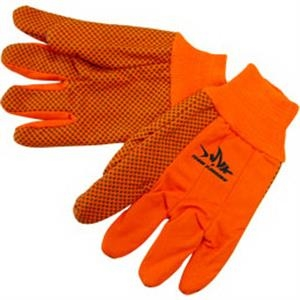 Fluorescent Orange - Double Palm Canvas Work Gloves With Black Pvc Dots On Palm